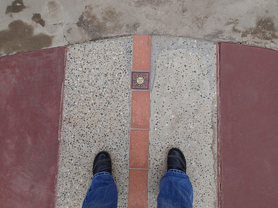Intiñan Solar Museum, a foot in both hemispheres according to GPS.