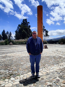 Quitsato Sundial, Cayambe. The most accurate site on the Equator. Notice how small his shadow is.