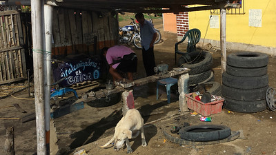 Puerto López; Vulcanizadora or tire repair shop. They're common as gas stations all over Ecuador... For good reason.