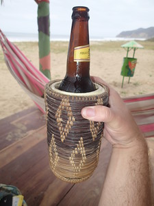 Hosteria Mandala, Puerto López. The greatest beer koozy ever, Supposedly made by prisoners in Brazil. I need to find a set. It worked wonders!!