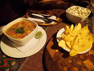 Hosteria Mandala, Puerto López. Ceviche on the coast is typically served with popcorn and plantains. The best we had was in Guayaquil.