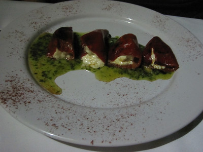Al Cielo restaurant goat cheese stuffed peppers